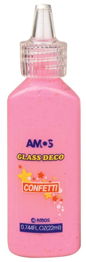 Barvy na skleněné plochy 22 ml s konfetami - 2. RŮŽOVÁ
