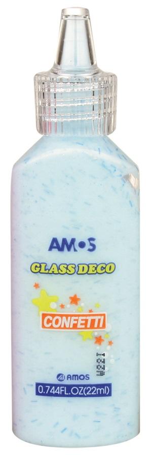 Barvy na skleněné plochy 22 ml s konfetami - 3. MODRÁ