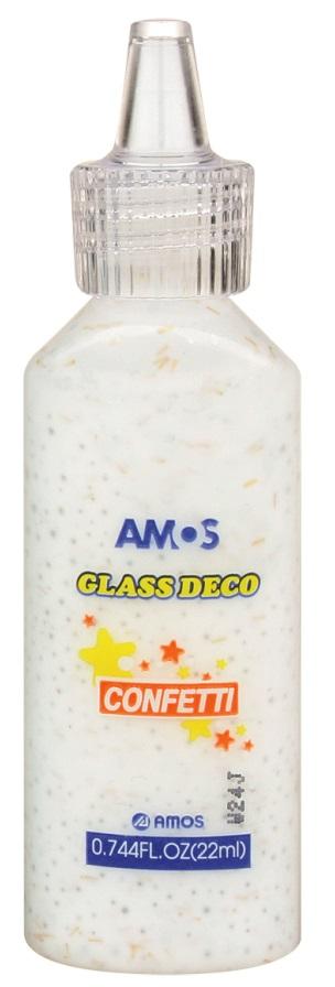 Barvy na skleněné plochy 22 ml s konfetami - 6. BÍLÁ