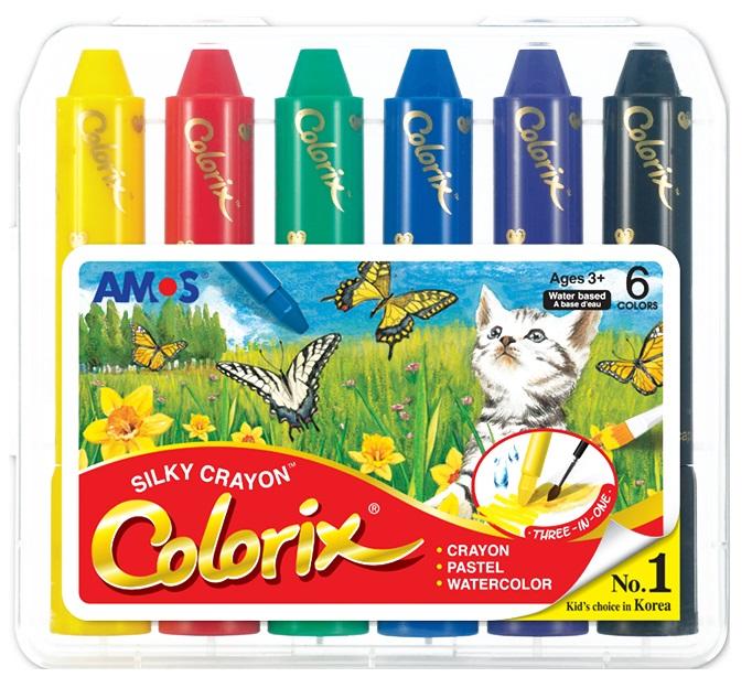 Krajony Colorix , rozmývatelné barvy, 6 ks v pouzdře