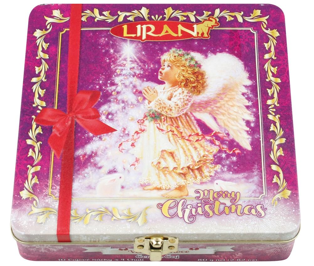 Balení vánoční černých čajů ANDĚL, 4 příchutě á 10 x 2 g