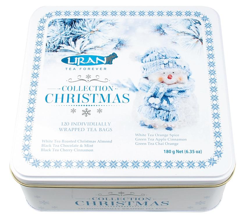 Balení vánoční černých, zelených, bílých čajů SNĚHULÁK 6 x 20 x 1,5 g