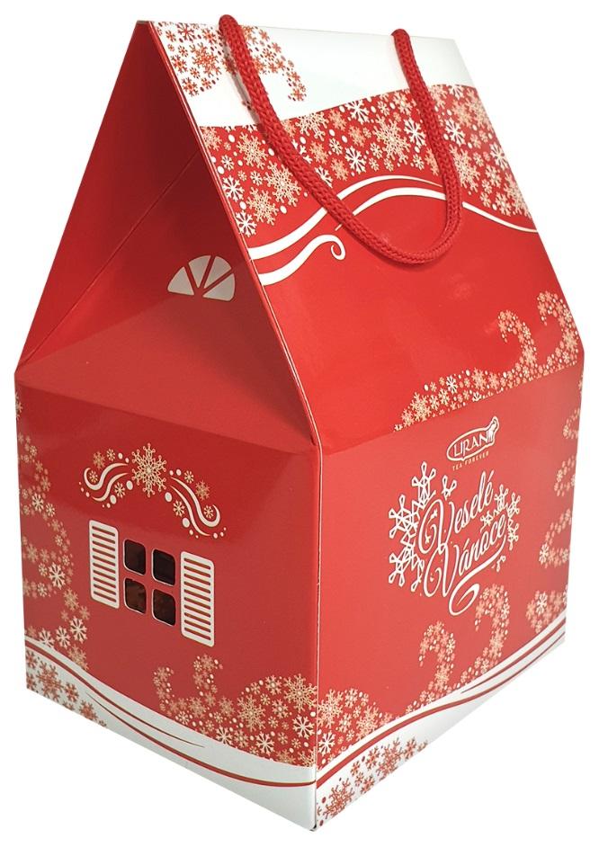 Vánoční balení černého a bílého čaje DOMEČEK velký, 4 x 4 x 2 g