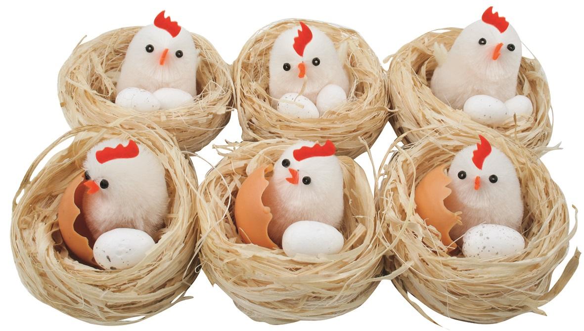 Hnízda s kuřátkem a vejcem 5,5 cm, 6 ks v krabičce