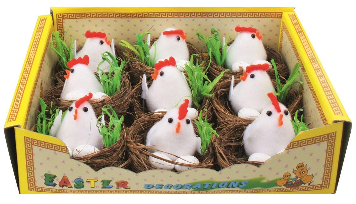 Hnízda s kuřátkem a vejci 5,5 cm,  9 ks v krabičce