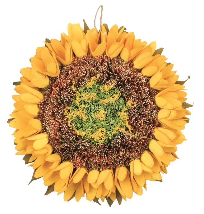 Dekorace slunečnice závěsná 27 cm, žlutá 1841