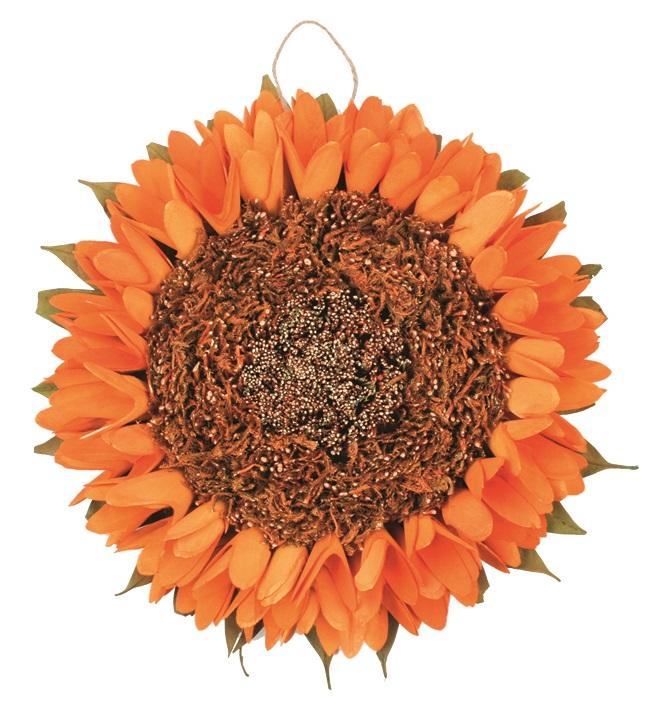 Dekorace slunečnice závěsná 27 cm, oranžová 1842