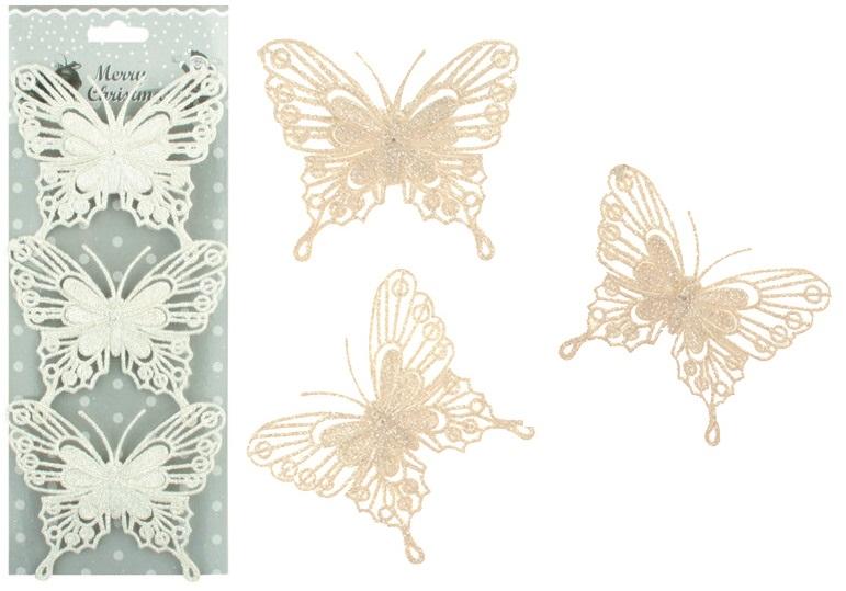 Motýli glitroví bílí s drátkem 3ks, 10cm (1973)