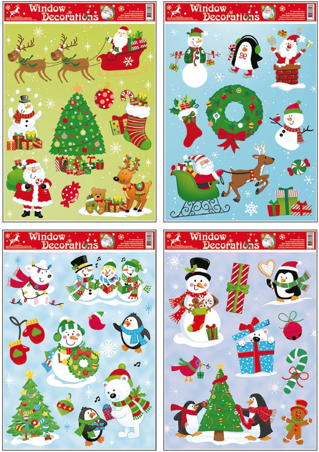 Fólie na okna vánoční, barevné archy s dětskými motivy 38x30cm (201)