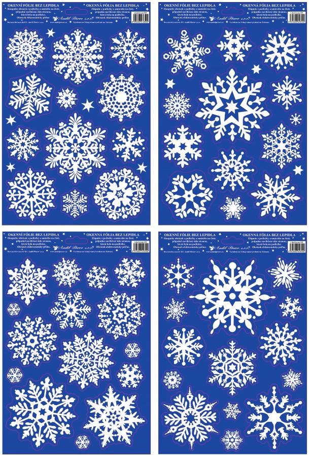 Fólie na okna vločky se sněhovým efektem 27x20cm
