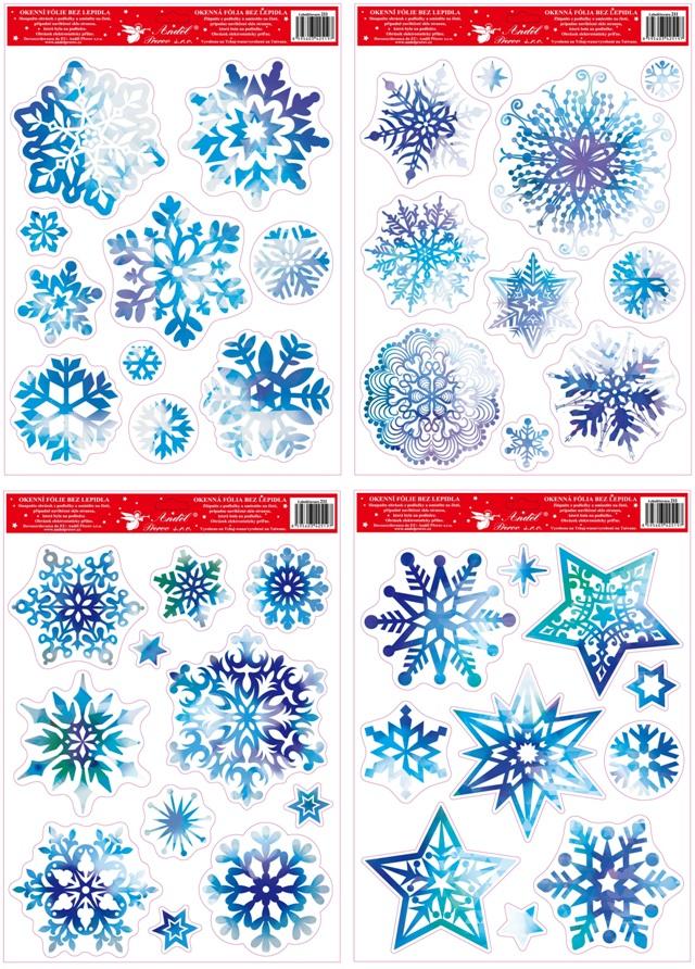Fólie na okna vločky a hvězdy modré s glitry 38x30 cm (211)