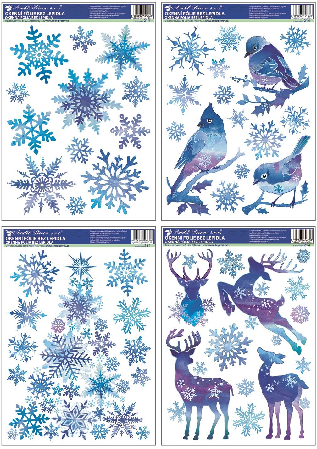 Fólie na okna ptáčci s vločkami a stromek z vloček modrý s glitry 37x29 cm (214)