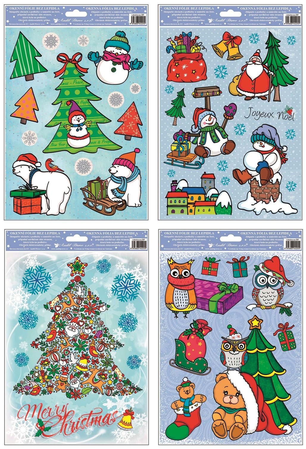 Fólie na okna s glitrem Merry Christmas 30x20 cm