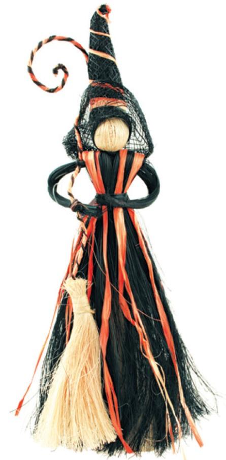 Čarodějnice s černooranžovou sukní 20cm 2462