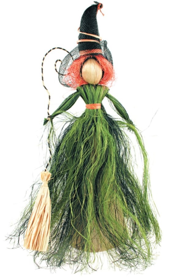 Čarodějnice se zelenou sukní 30cm 2467