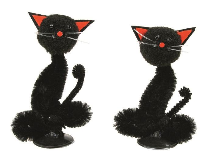 Kočka černá na postavení  7 cm, 2 ks v krabičce
