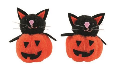 Dýně s černou kočkou 5 cm, 2 ks v sáčku