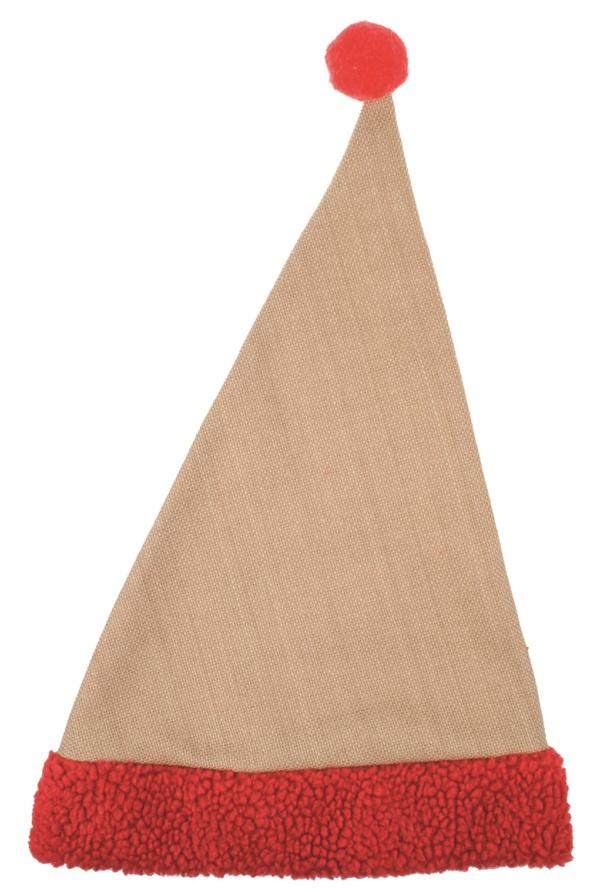 Čepice mikulášská jutová s červeným lemem 47 cm