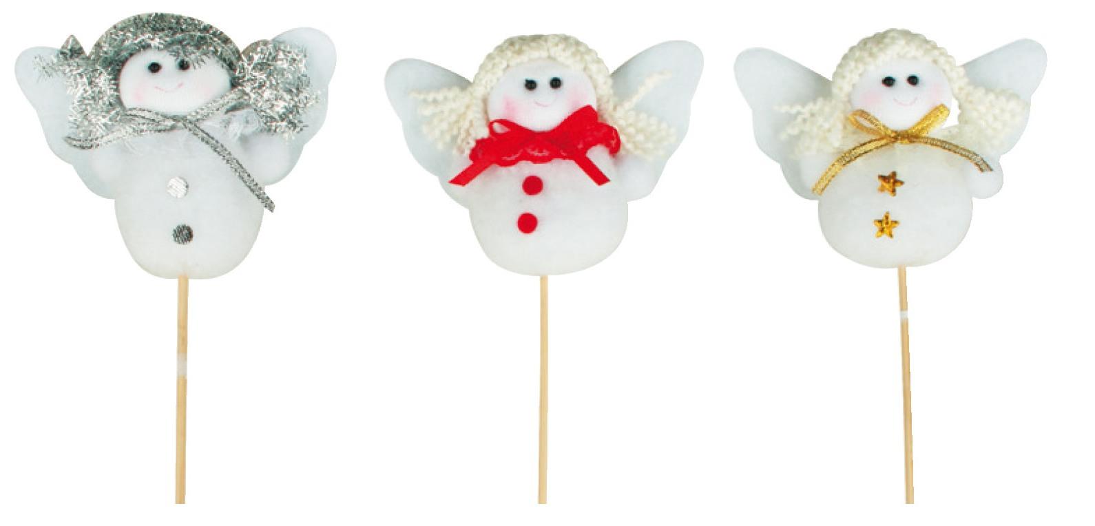 Anděl bílý s mašlí 8cm+špejle