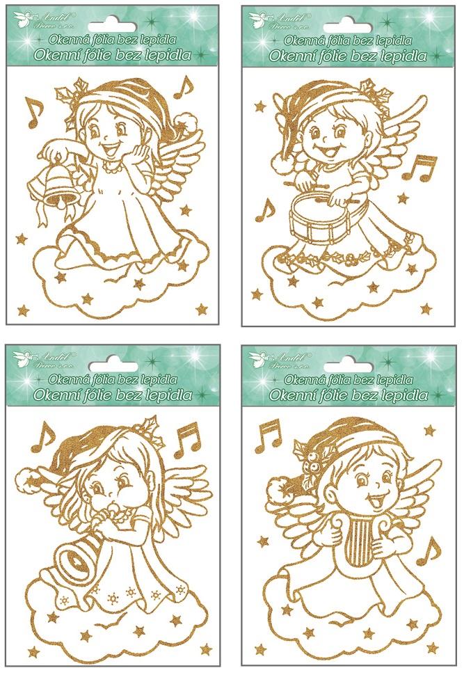Fólie na okna andílci se zlatými glitry 18x15cm (387) (387)