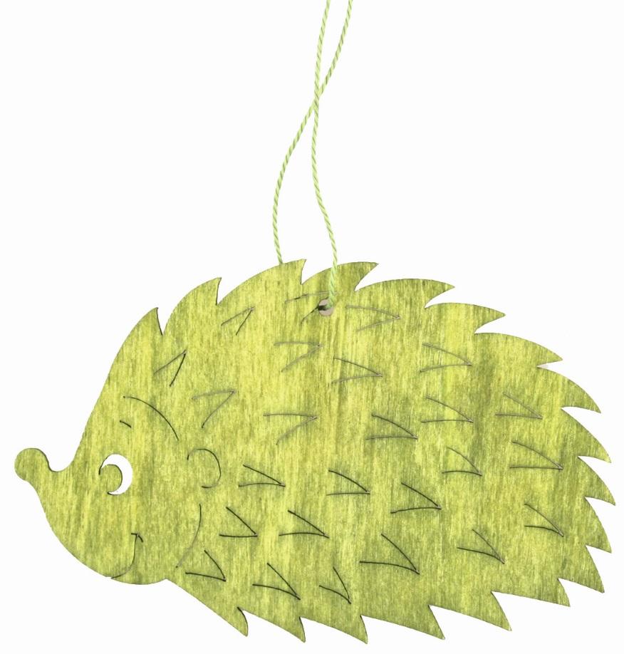 Ježek dřevěný na zavěšení zelený 12 cm