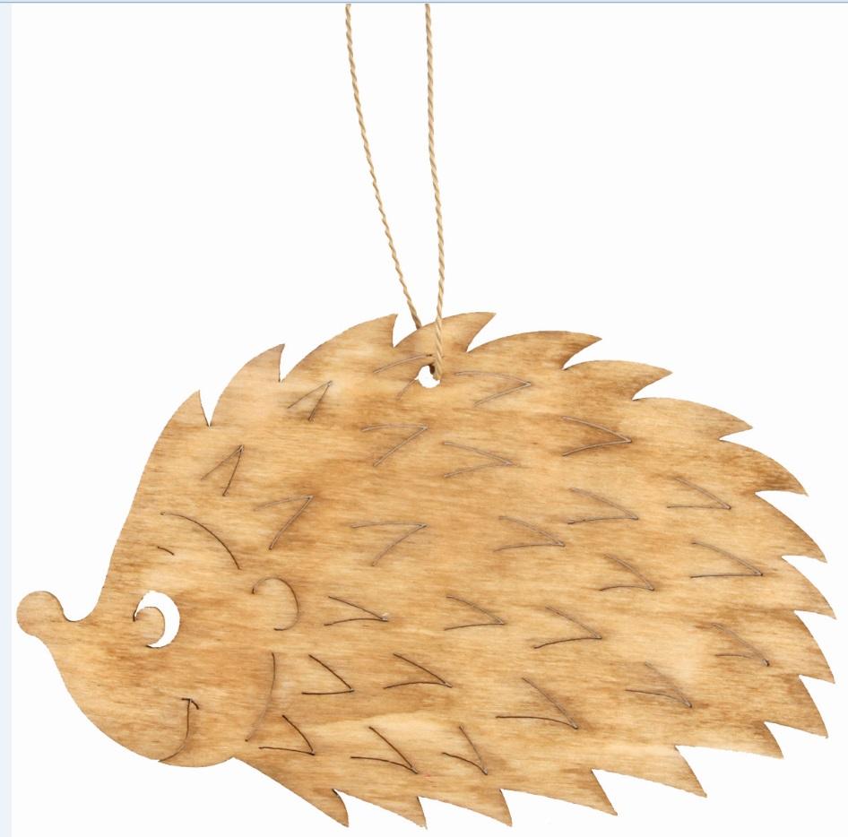 Ježek dřevěný na zavěšení světle hnědý 12 cm