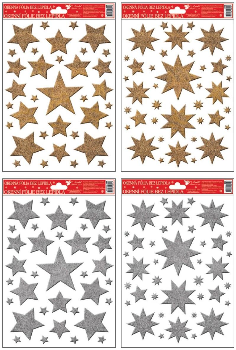 Fólie na okna hvězdy zlaté, stříbrné glitry 27x20cm (389)