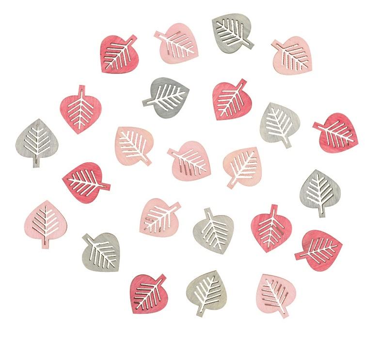 Listy dřevěné šedé a růžové 2 cm, 24 ks