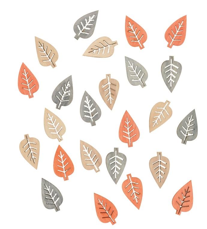 Listy dřevěné přírodní barvy 2 cm, 24 ks (4002)