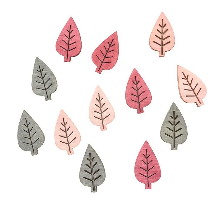 Listy dřevěné šedé a růžové 4 cm, 12  ks