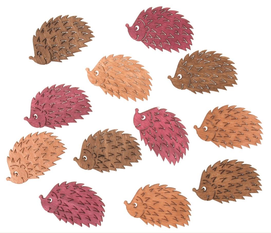 Dřevění ježci 4 cm, 12 ks (4218)