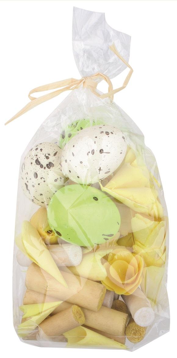 Komponenty dekorační (vejce,dřevěné ozdoby) 100 g, velikonoční žluté,zelené