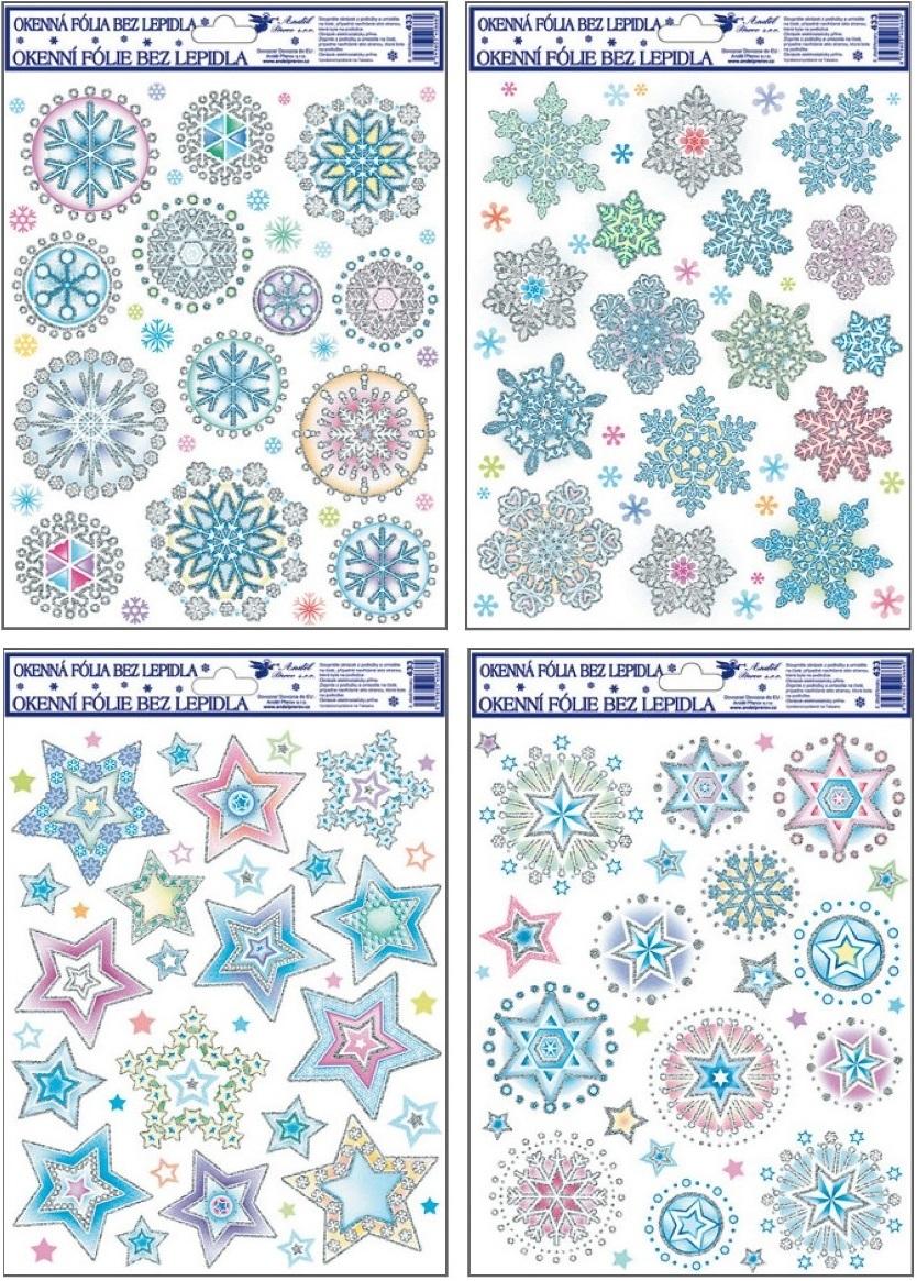 Fólie na okna barevné vločky a hvězdy 27x20cm (433)