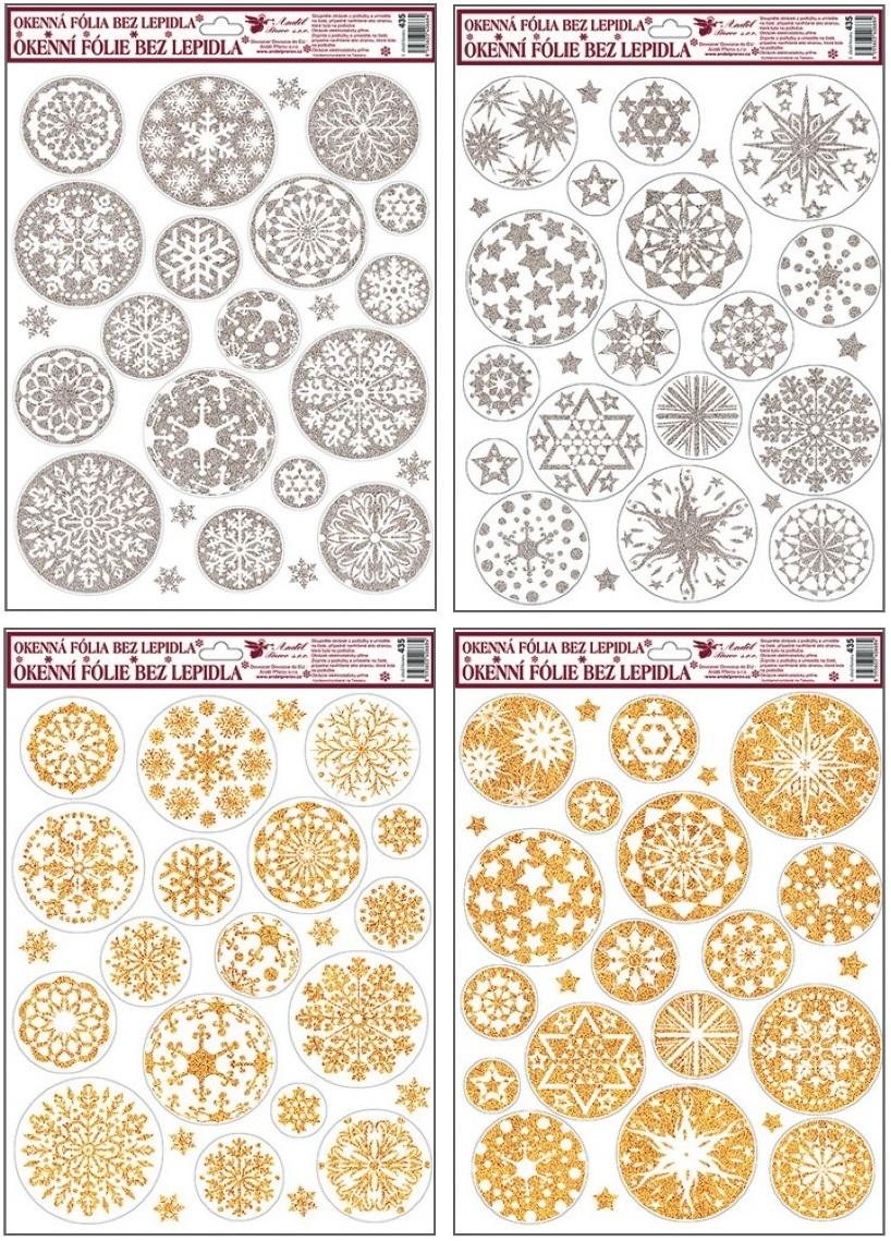Fólie na okna bílo-zlaté, stříbrné kruhové vločky 38x30cm