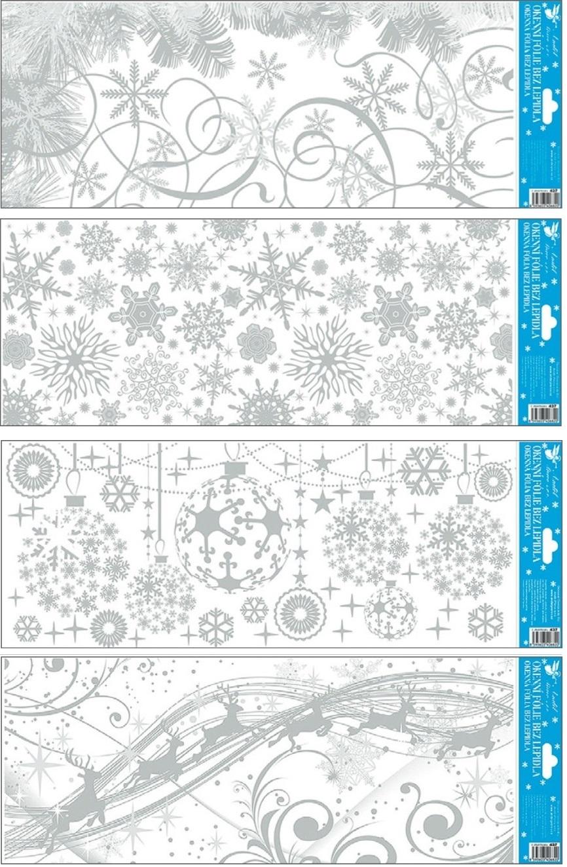 Fólie na okna zamrzlý stříbrný pruh 55 x 22,5 cm (437)