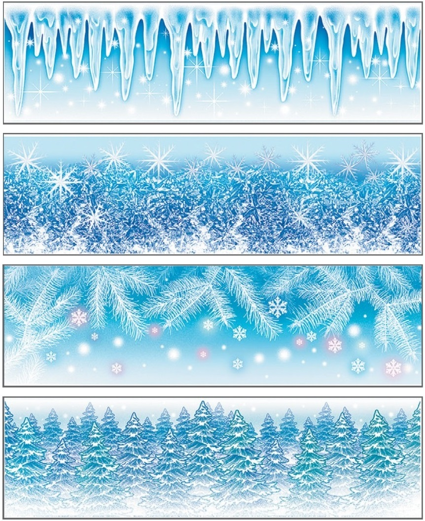 Fólie na okna malý pruh z ledové kolekce 41,5x12cm (438)