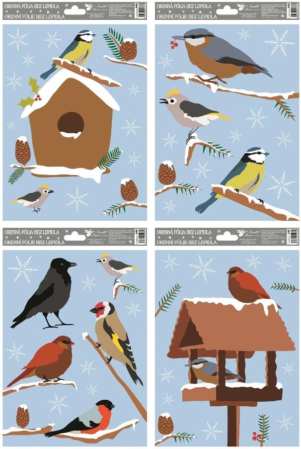 Fólie na okna ptáci zimní 27x20cm (446)