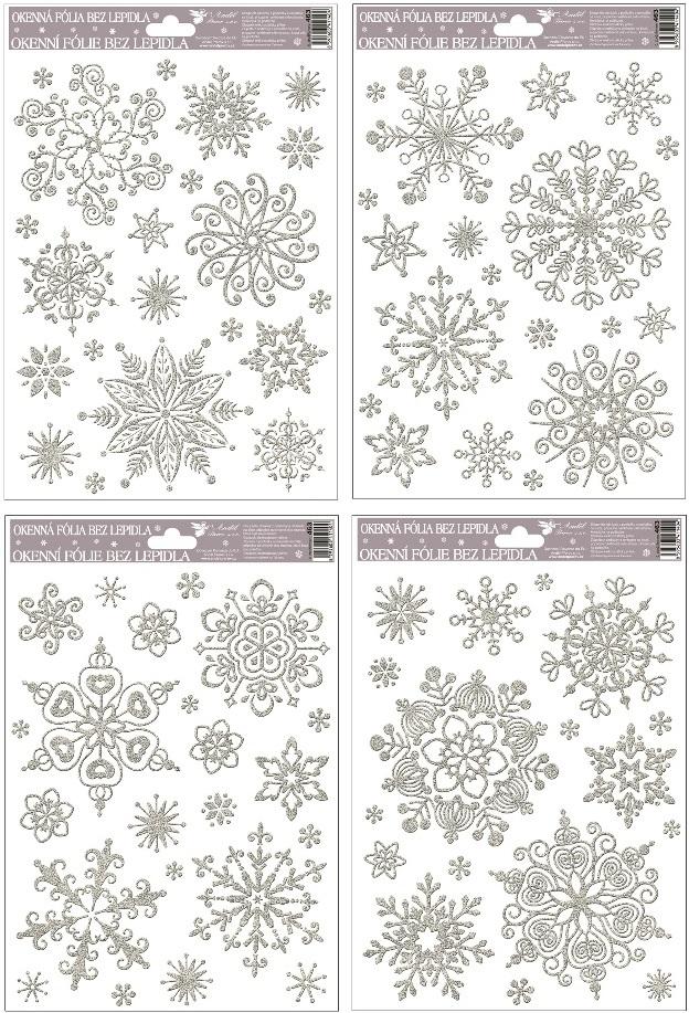 Fólie na okna vločky sněhový efekt stříbrná,27x20cm (463)