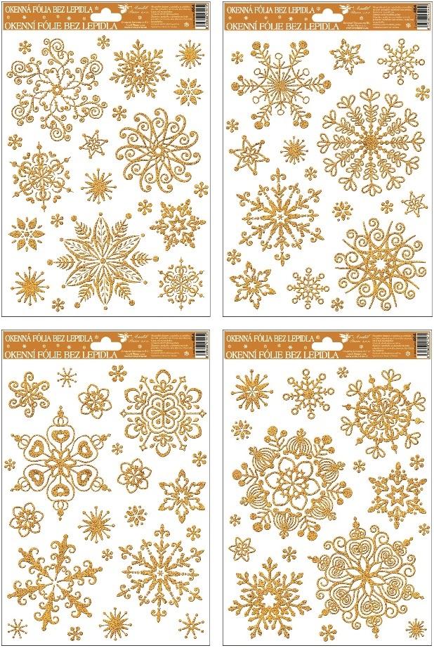 Fólie na okna vločky sněhový efekt zlatá,27x20cm (464)
