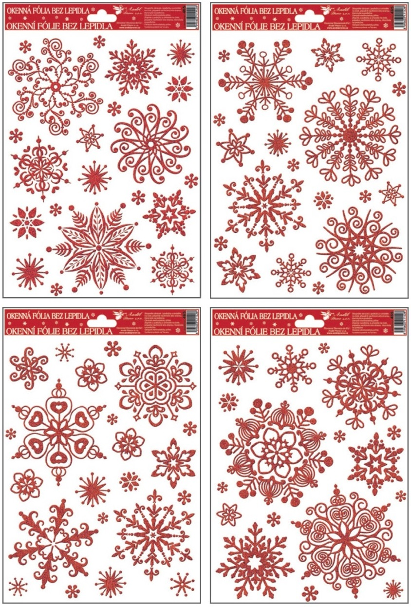 Fólie na okna vločky sněhový efekt červená,27x20cm