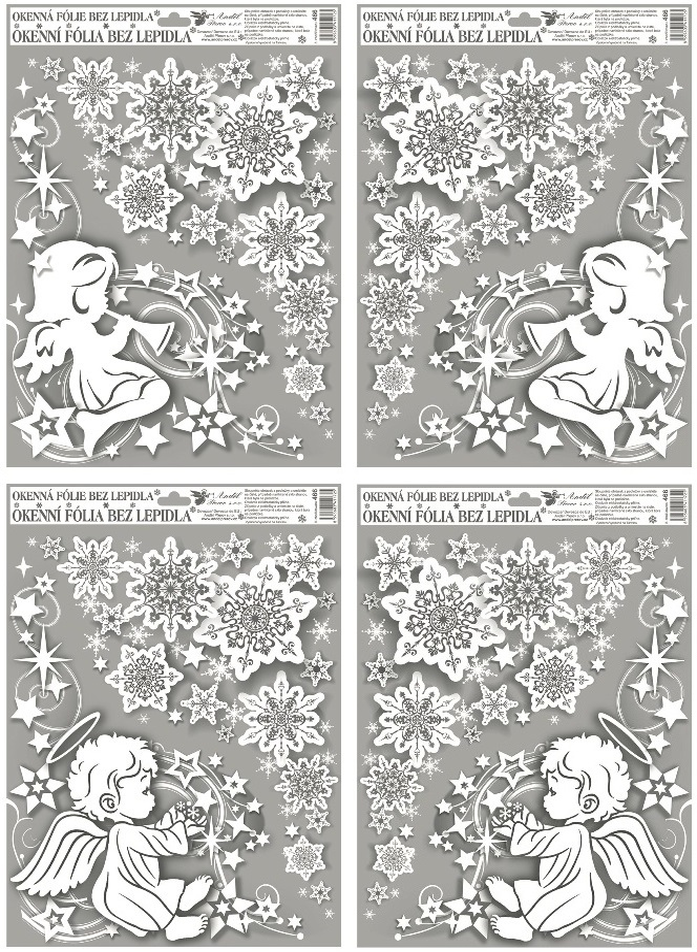 Fólie na okna rohová andílci s duhovými glitry 38x30cm