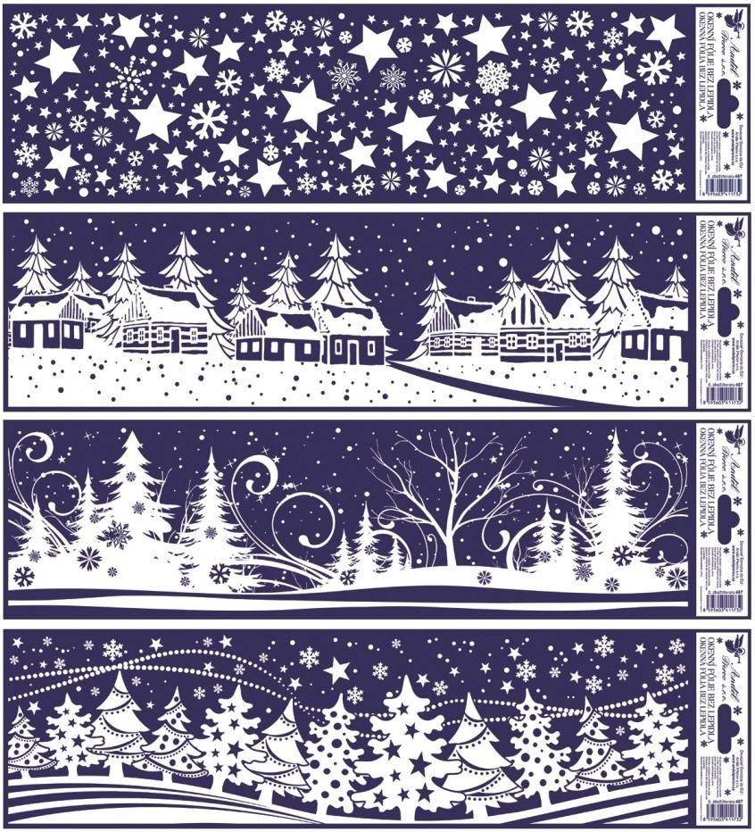 Fólie na okna vánoční krajinky pruh 41,5x12cm (467)