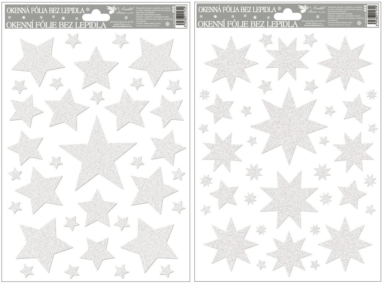Fólie na okna hvězdy bílé s glitry 27x20cm (468)
