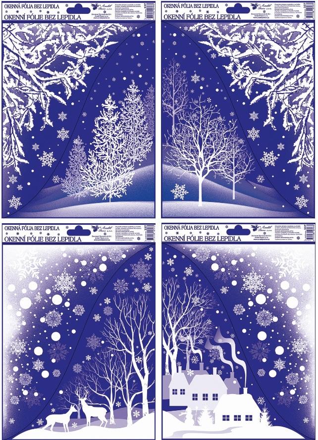 Fólie na okna rohová s glitrem zimní krajina 38x30 cm (472)