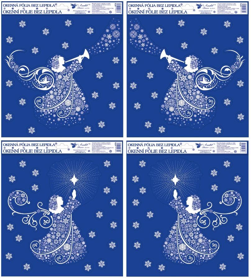 Fólie na okna s glitrem anděl z vloček 30x30 cm (475)