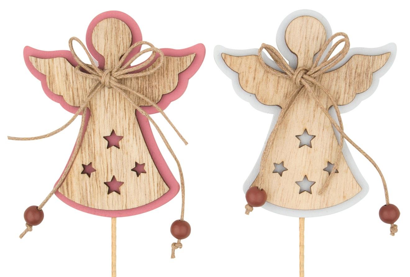 Anděl dřevěný 8 cm + špejle