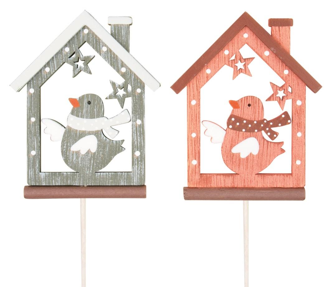 Domek s ptáčkem dřevěný 8 cm + špejle