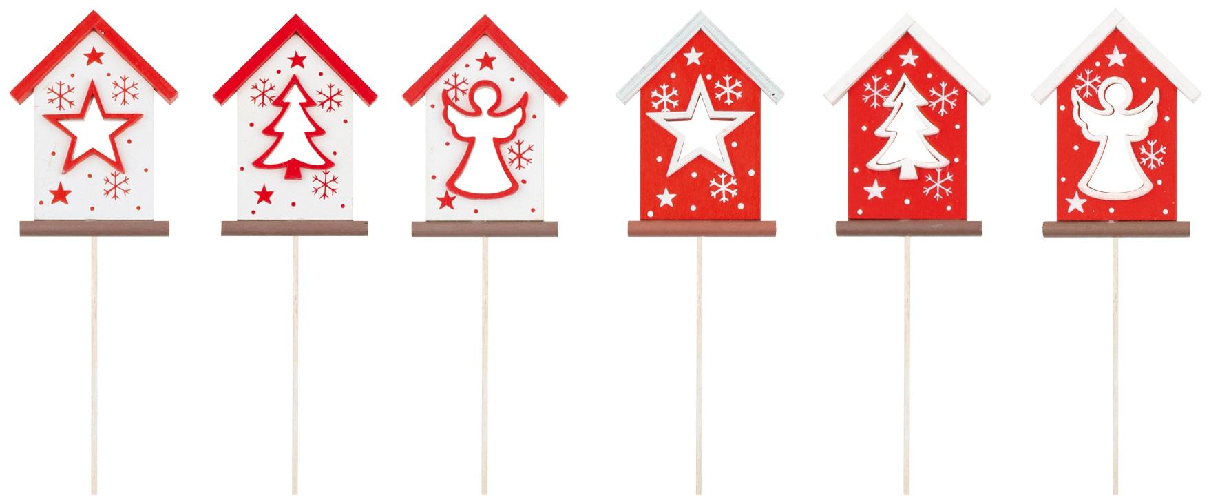 Domeček dřevěný červenobílý 8,5 cm + špejle