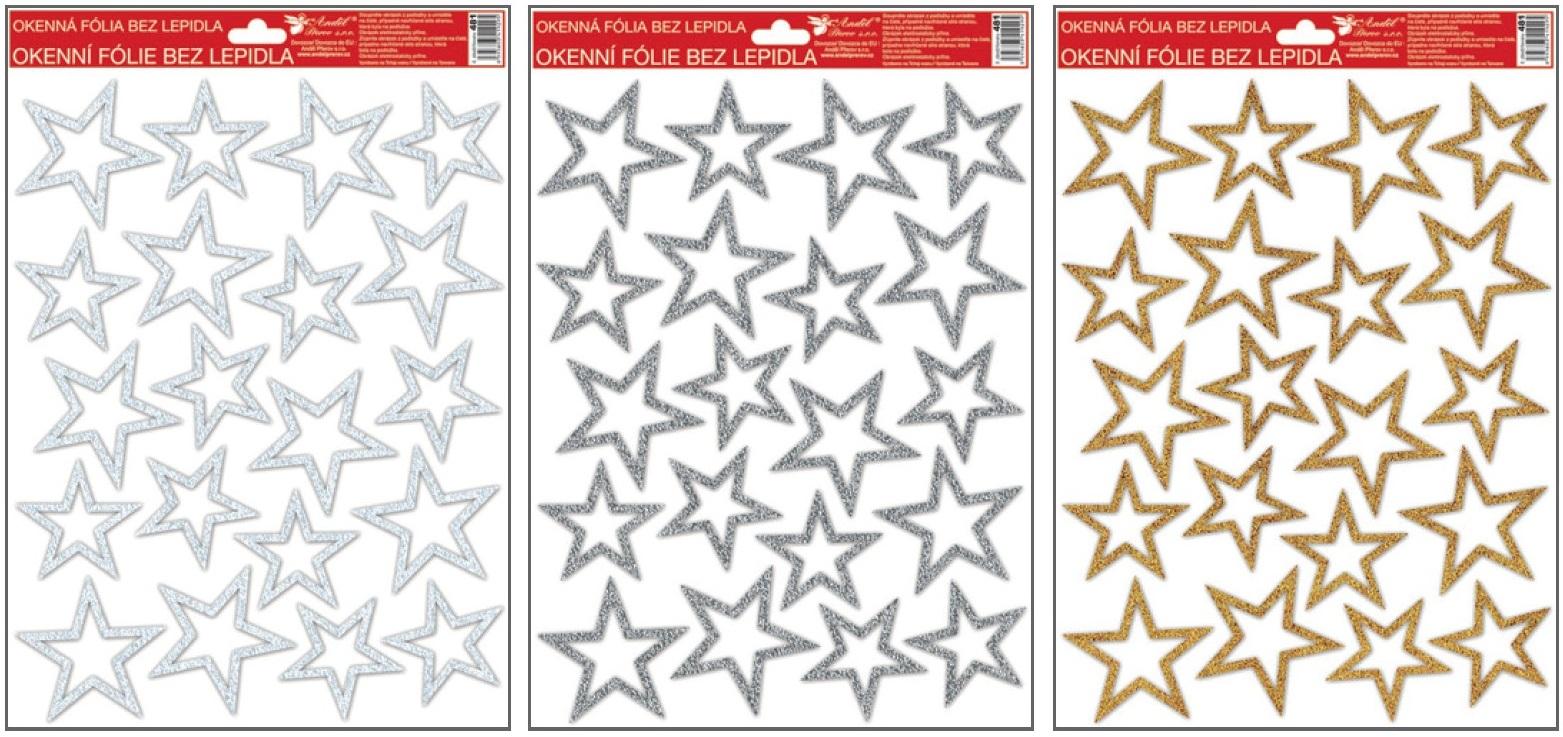 Fólie na okna s glitrem stříbrné,zlaté,bílé hvězdy 33,5x26 cm (481)