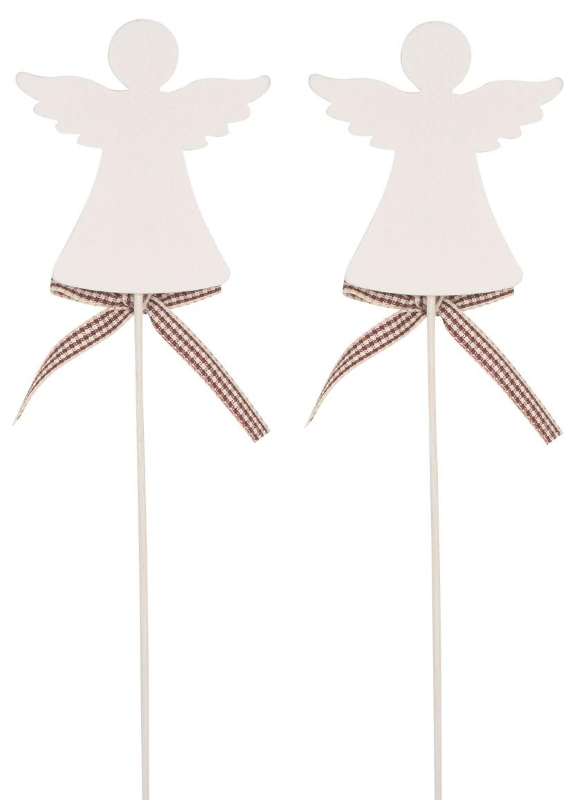 Anděl dřevěný bílý 7 cm + špejle, 2 ks zápich